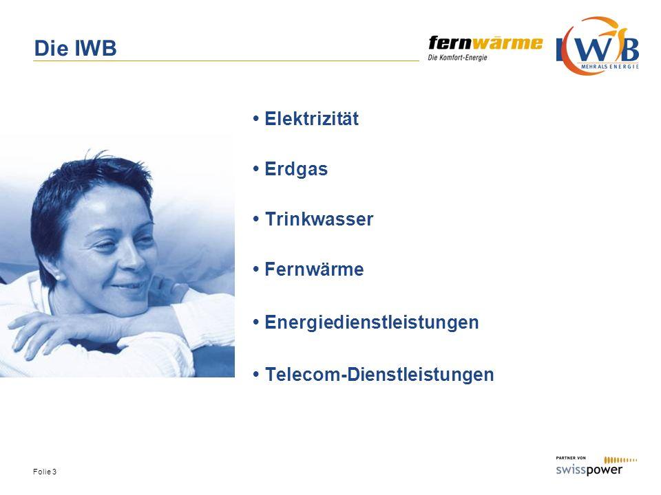 Die IWB • Elektrizität • Erdgas • Trinkwasser • Fernwärme