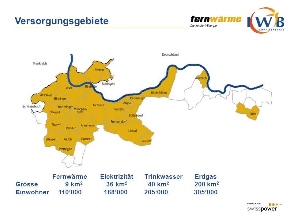 Versorgungsgebiete Fernwärme Elektrizität Trinkwasser Erdgas
