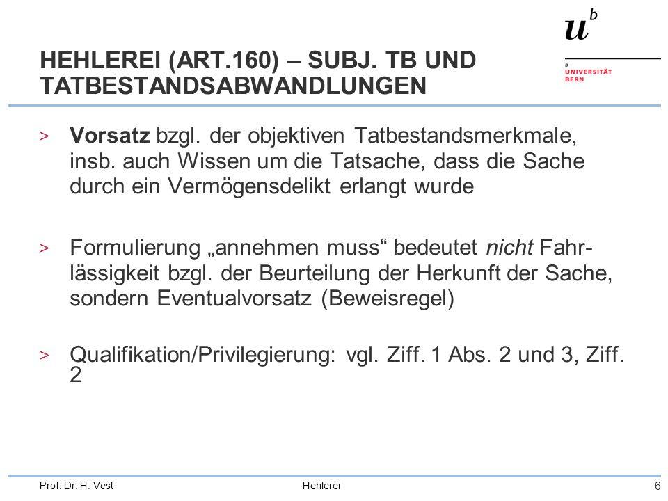 HEHLEREI (ART.160) – SUBJ. TB UND TATBESTANDSABWANDLUNGEN
