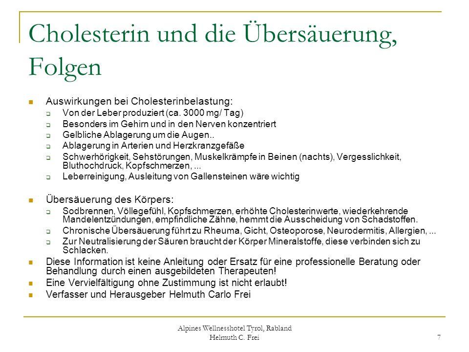 Cholesterin und die Übersäuerung, Folgen