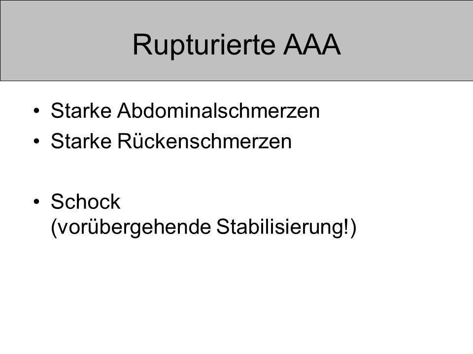 Rupturierte AAA Starke Abdominalschmerzen Starke Rückenschmerzen