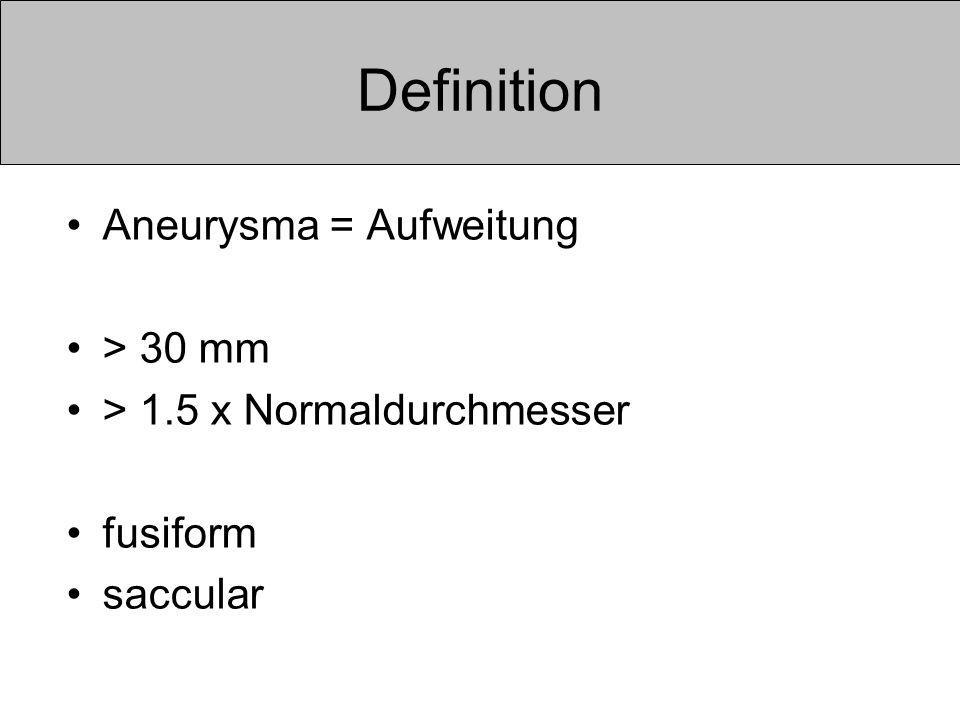 Definition Aneurysma = Aufweitung > 30 mm