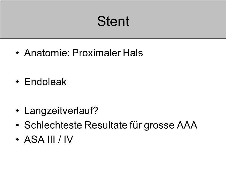 Stent Anatomie: Proximaler Hals Endoleak Langzeitverlauf