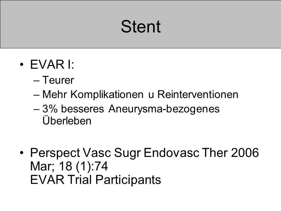 Stent EVAR I: Teurer. Mehr Komplikationen u Reinterventionen. 3% besseres Aneurysma-bezogenes Überleben.