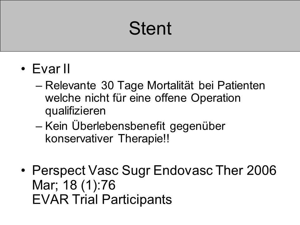 Stent Evar II. Relevante 30 Tage Mortalität bei Patienten welche nicht für eine offene Operation qualifizieren.
