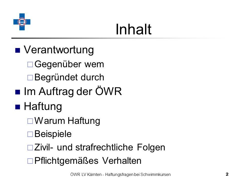 ÖWR LV Kärnten - Haftungsfragen bei Schwimmkursen