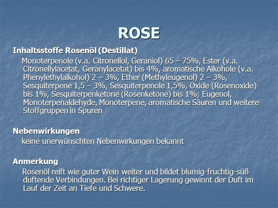 ROSE Inhaltsstoffe Rosenöl (Destillat)