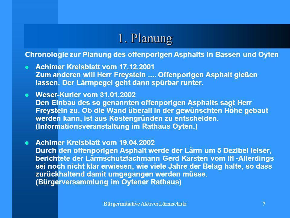 Chronologie zur Planung des offenporigen Asphalts in Bassen und Oyten