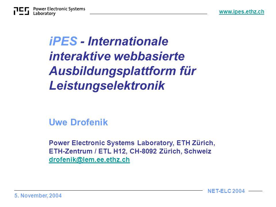 iPES - Internationale interaktive webbasierte Ausbildungsplattform für Leistungselektronik