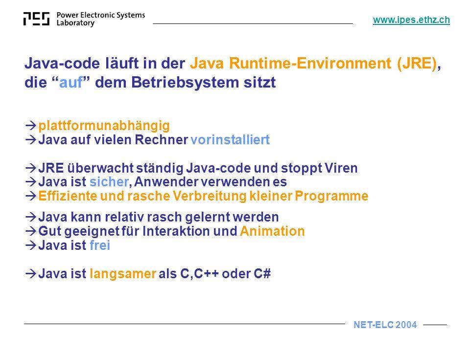 Java-code läuft in der Java Runtime-Environment (JRE), die auf dem Betriebsystem sitzt