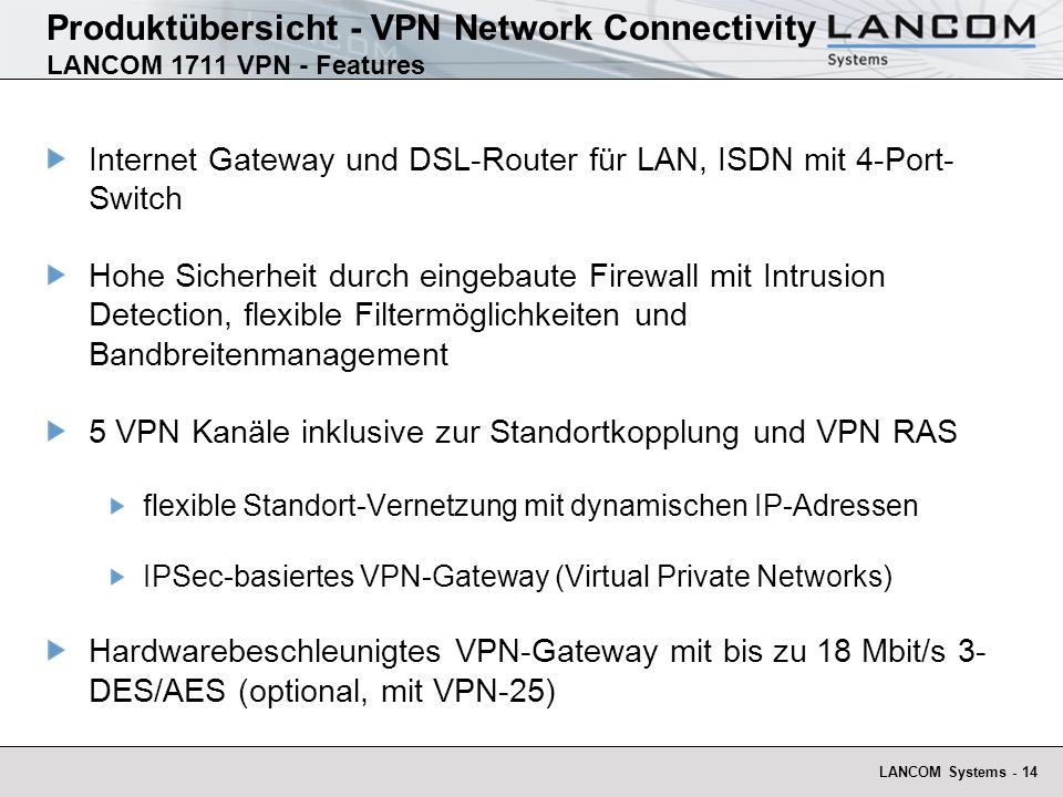 Produktübersicht - VPN Network Connectivity LANCOM 1711 VPN - Features
