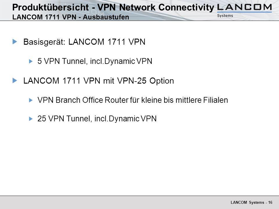 Produktübersicht - VPN Network Connectivity LANCOM 1711 VPN - Ausbaustufen