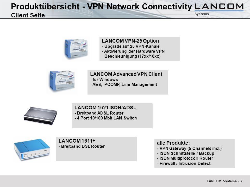 Produktübersicht - VPN Network Connectivity Client Seite