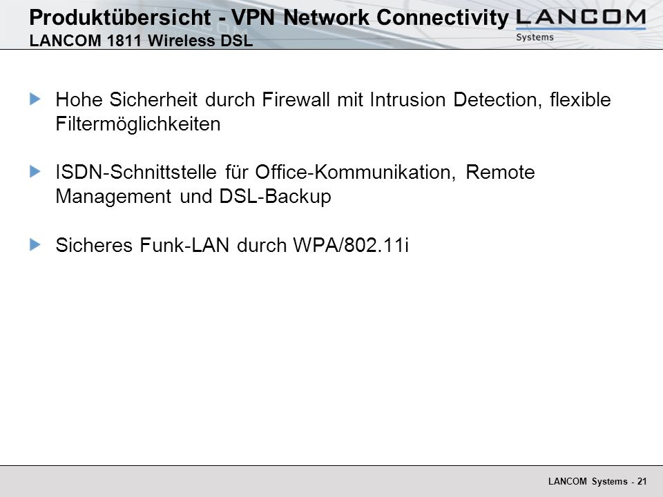 Produktübersicht - VPN Network Connectivity LANCOM 1811 Wireless DSL