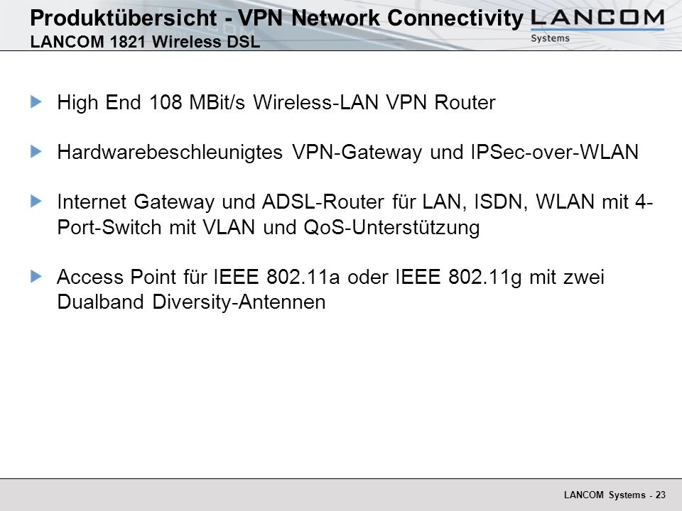Produktübersicht - VPN Network Connectivity LANCOM 1821 Wireless DSL