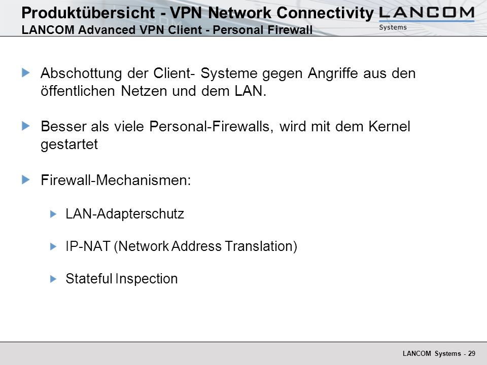 Produktübersicht - VPN Network Connectivity LANCOM Advanced VPN Client - Personal Firewall