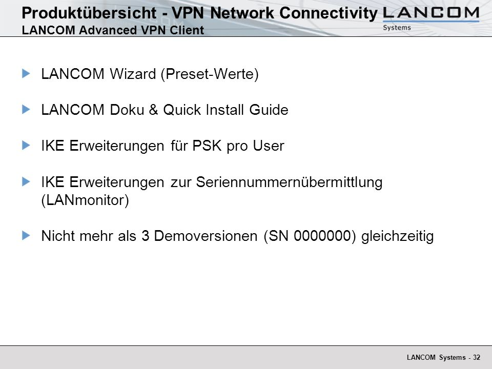 Produktübersicht - VPN Network Connectivity LANCOM Advanced VPN Client