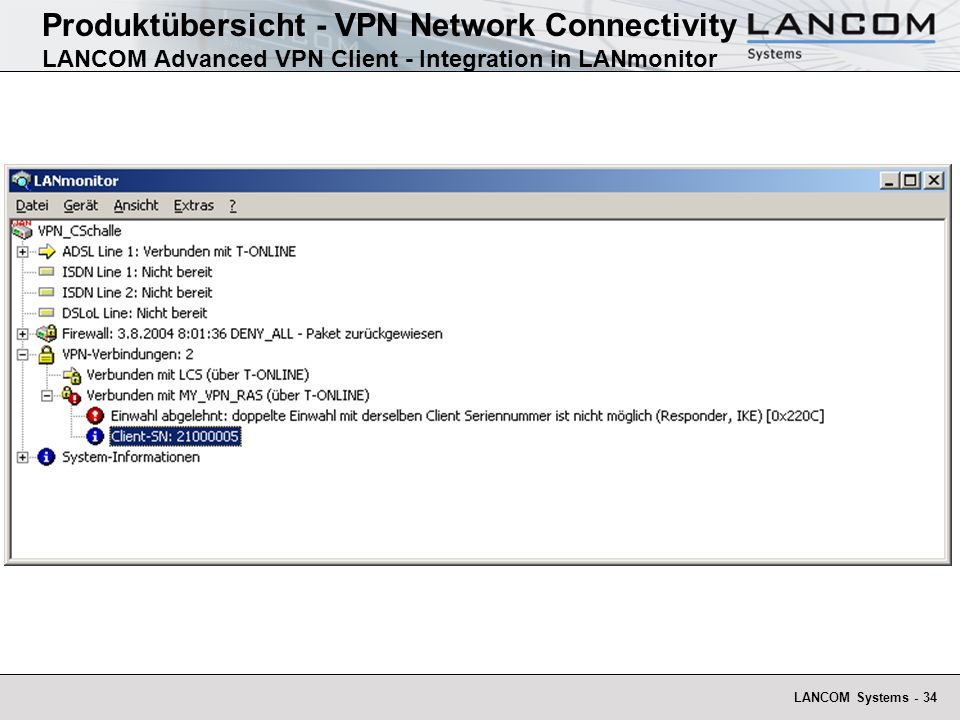 Produktübersicht - VPN Network Connectivity LANCOM Advanced VPN Client - Integration in LANmonitor