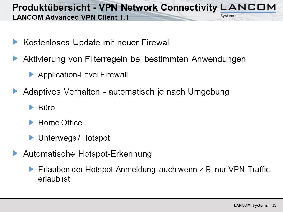 Produktübersicht - VPN Network Connectivity LANCOM Advanced VPN Client 1.1