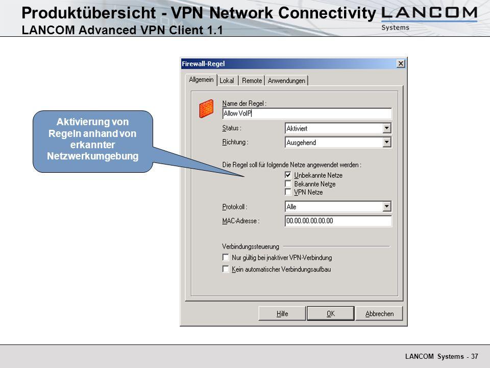 Aktivierung von Regeln anhand von erkannter Netzwerkumgebung