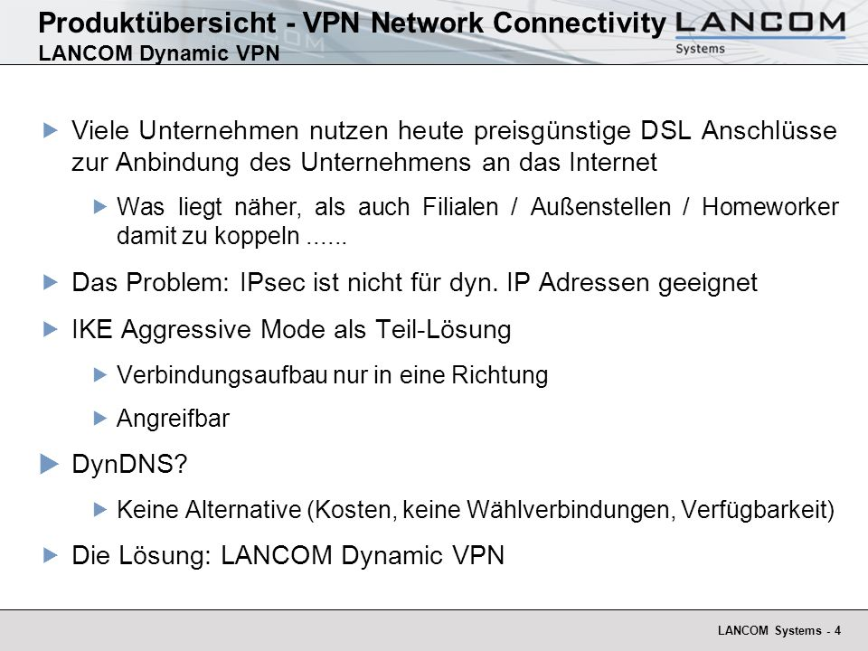 Produktübersicht - VPN Network Connectivity LANCOM Dynamic VPN
