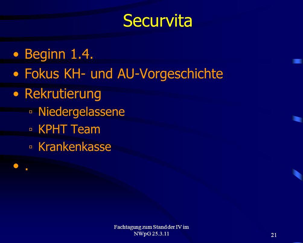 Fachtagung zum Stand der IV im NWpG 25.3.11