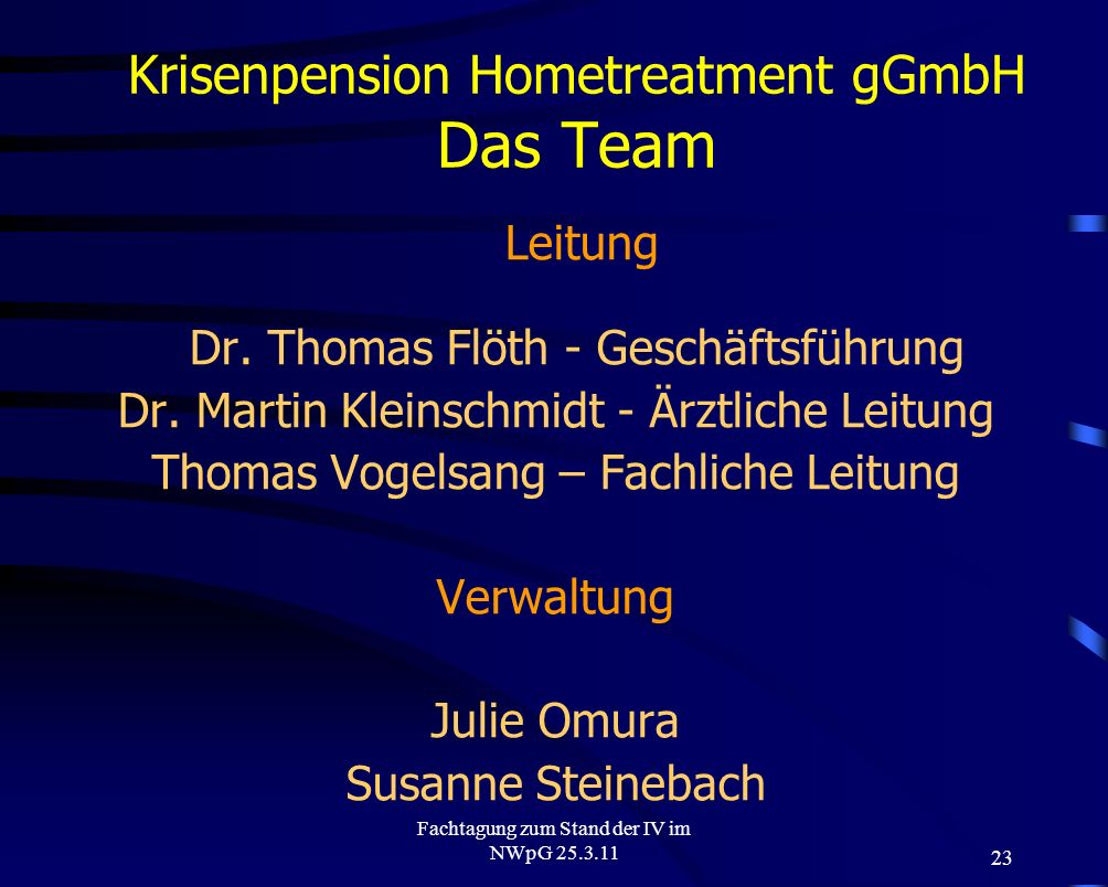 Krisenpension Hometreatment gGmbH Das Team