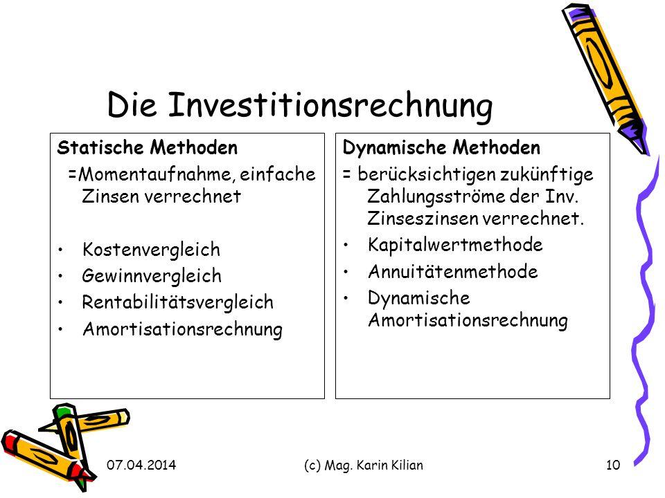 Die Investitionsrechnung