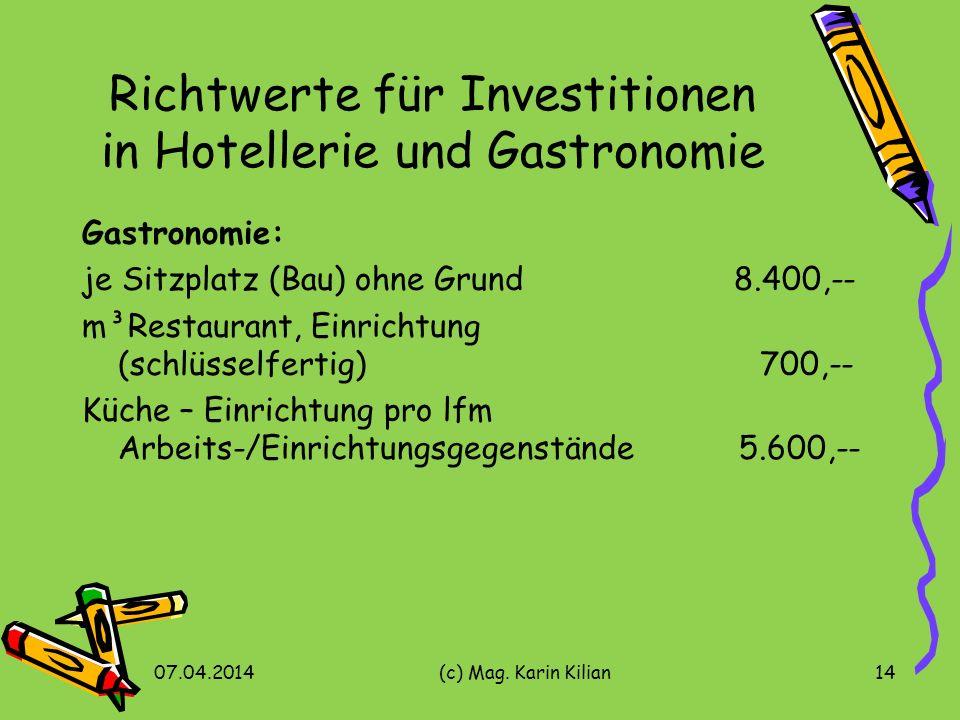 Richtwerte für Investitionen in Hotellerie und Gastronomie