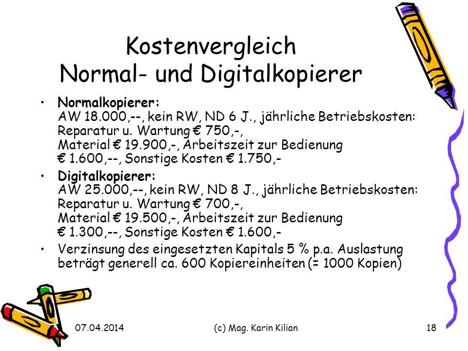Kostenvergleich Normal- und Digitalkopierer