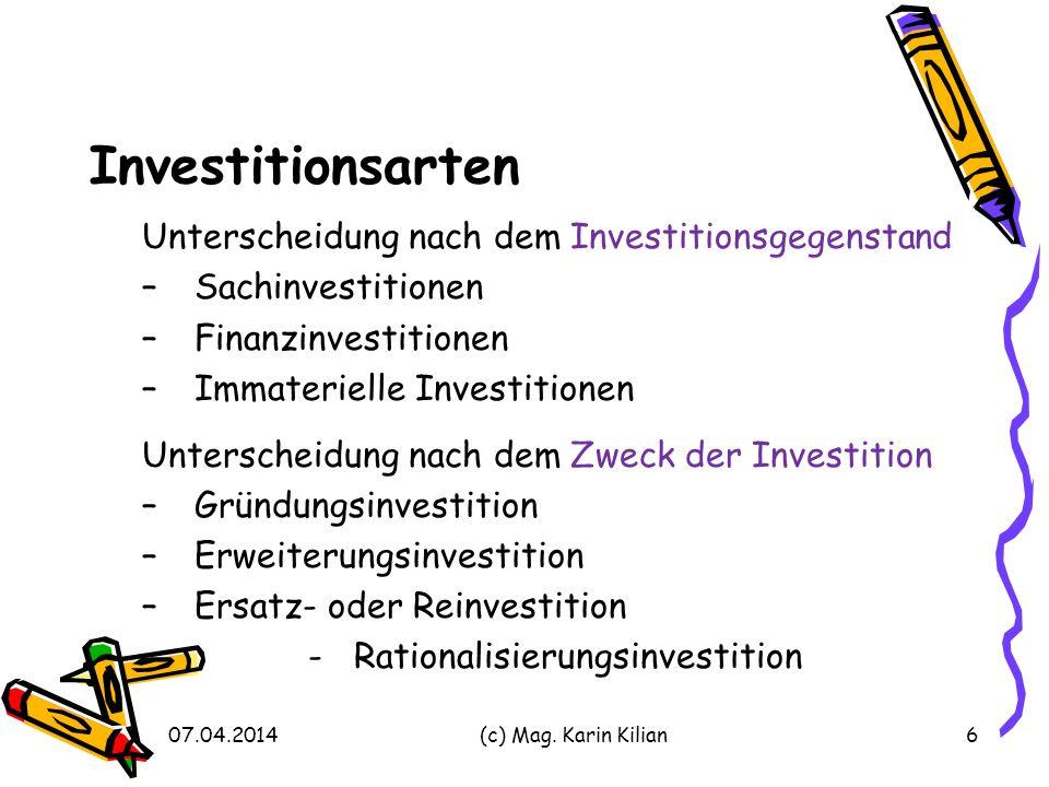 Investitionsarten Unterscheidung nach dem Investitionsgegenstand