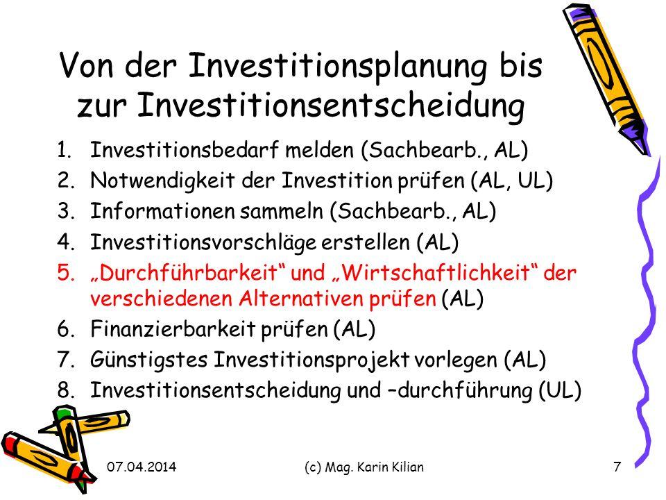 Von der Investitionsplanung bis zur Investitionsentscheidung