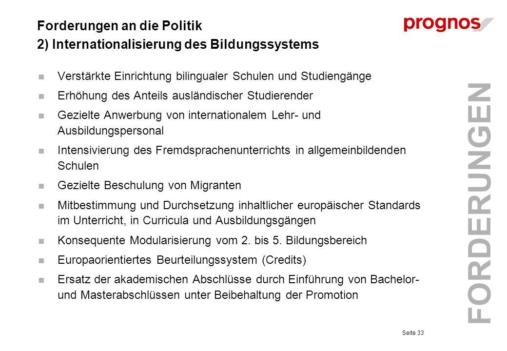 Forderungen an die Politik 2) Internationalisierung des Bildungssystems