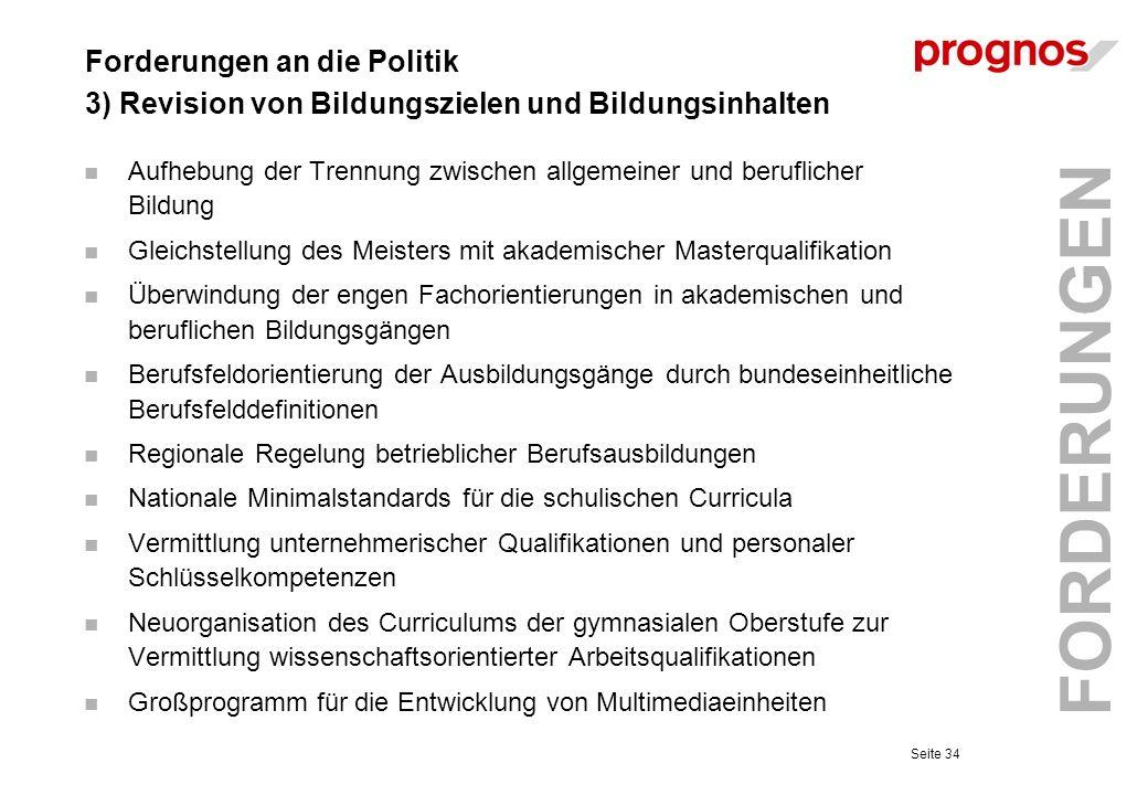 Forderungen an die Politik 3) Revision von Bildungszielen und Bildungsinhalten