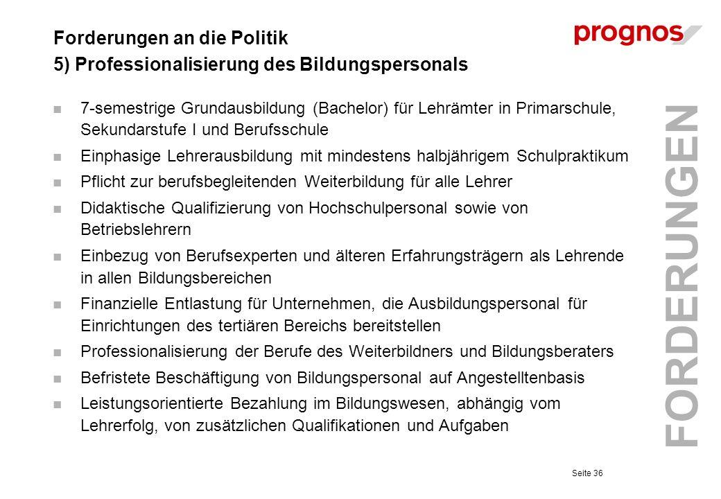 Forderungen an die Politik 5) Professionalisierung des Bildungspersonals