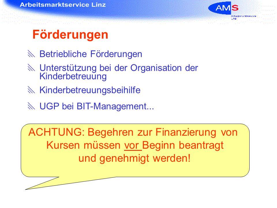 Förderungen ACHTUNG: Begehren zur Finanzierung von
