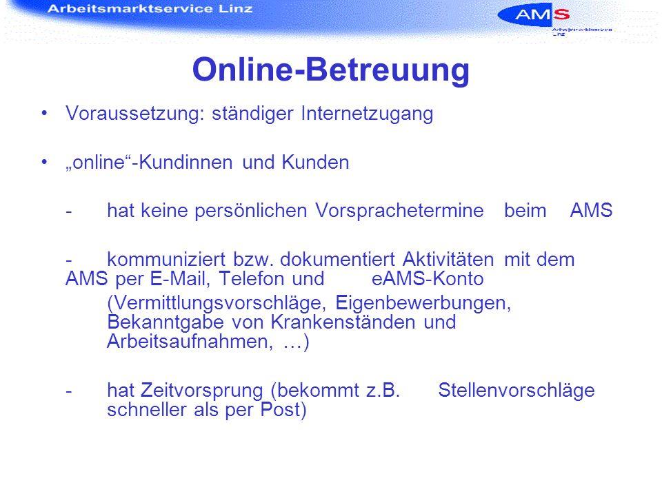 Online-Betreuung Voraussetzung: ständiger Internetzugang