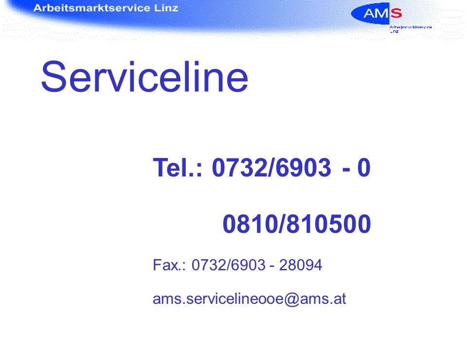 Serviceline Tel.: 0732/6903 - 0 0810/810500 Fax.: 0732/6903 - 28094
