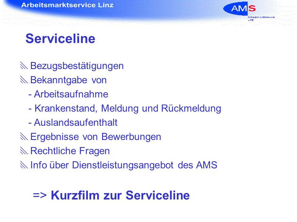 Serviceline => Kurzfilm zur Serviceline Bezugsbestätigungen