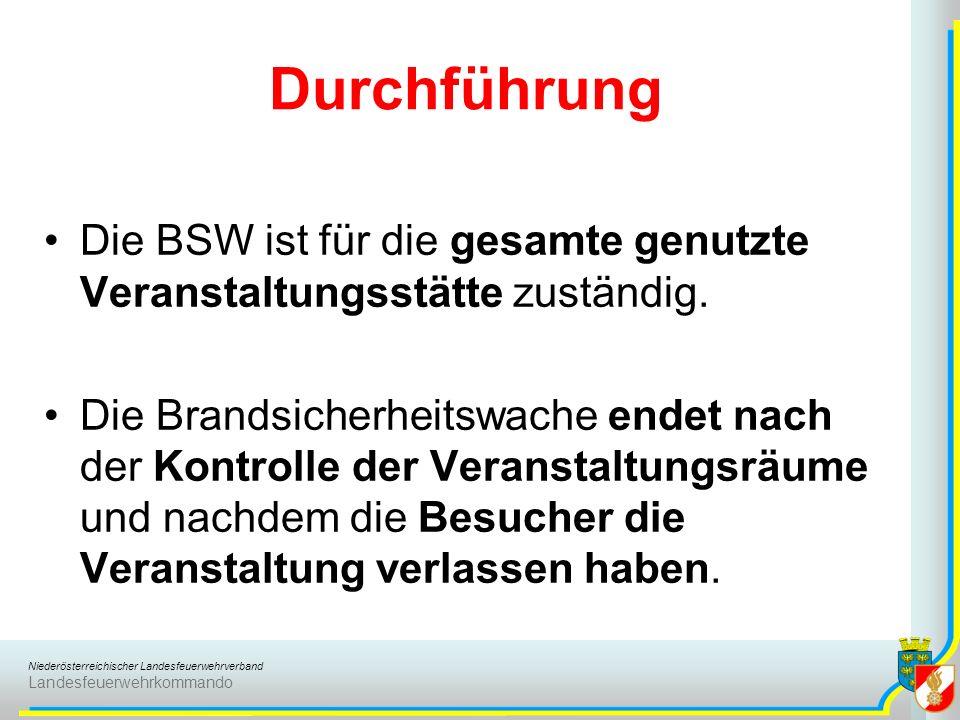 Durchführung Die BSW ist für die gesamte genutzte Veranstaltungsstätte zuständig.
