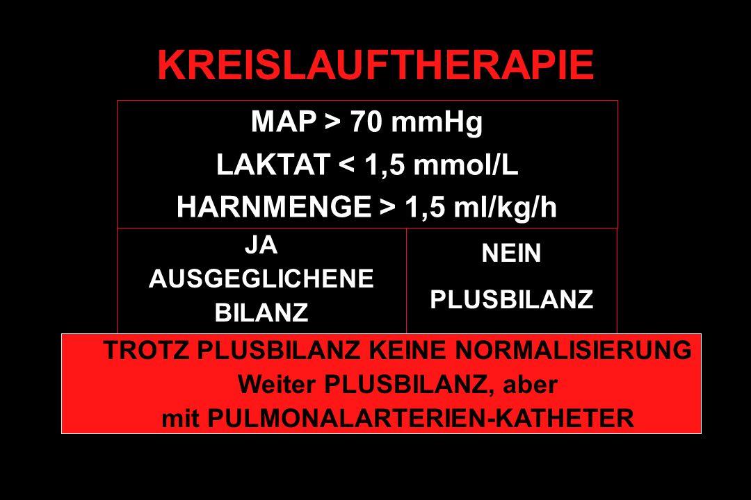 KREISLAUFTHERAPIE MAP > 70 mmHg LAKTAT < 1,5 mmol/L