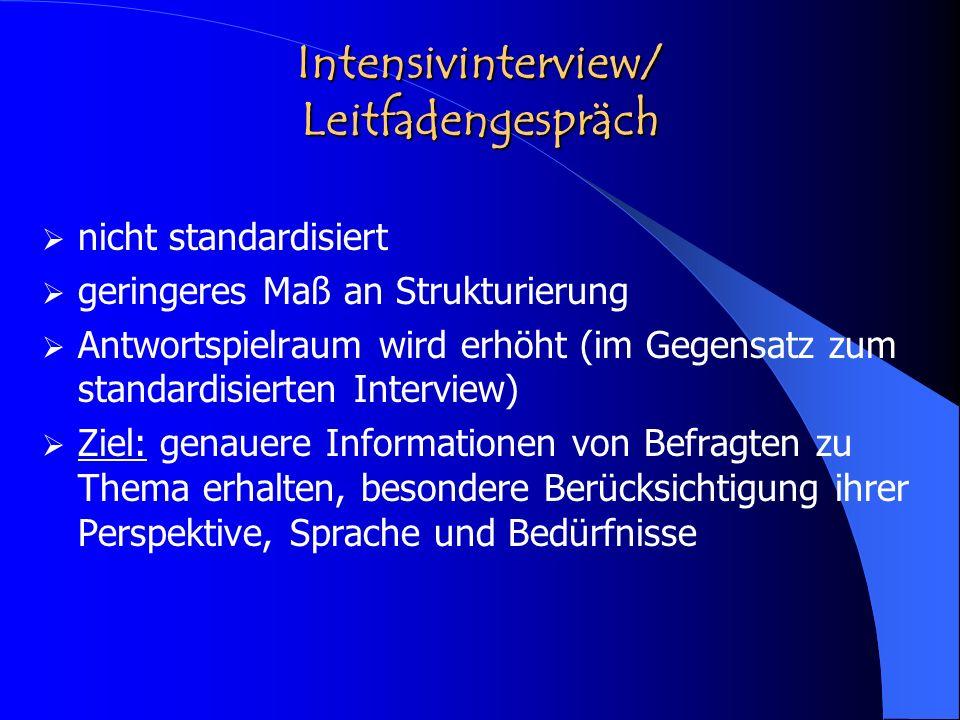 Intensivinterview/ Leitfadengespräch