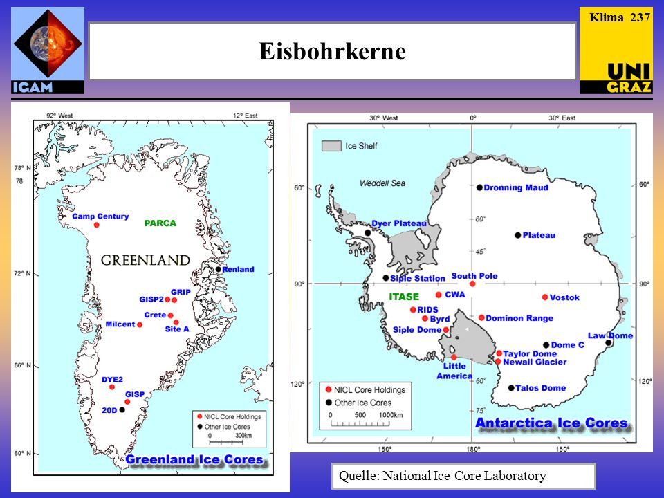 Klima 237 Eisbohrkerne Quelle: National Ice Core Laboratory