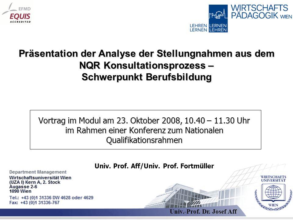 Präsentation der Analyse der Stellungnahmen aus dem NQR Konsultationsprozess – Schwerpunkt Berufsbildung