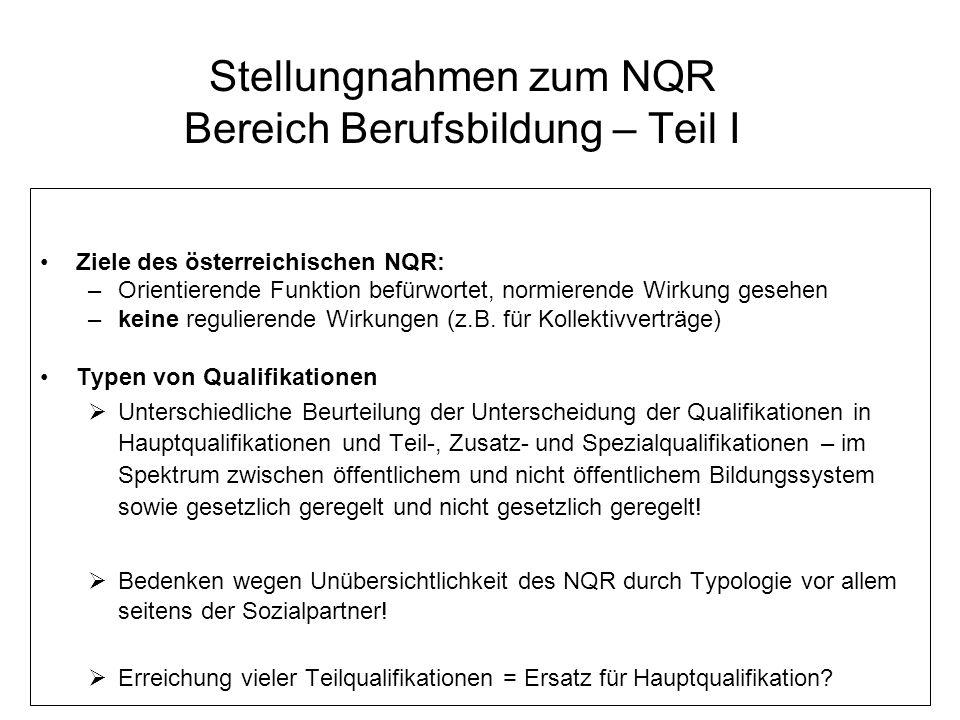 Stellungnahmen zum NQR Bereich Berufsbildung – Teil I