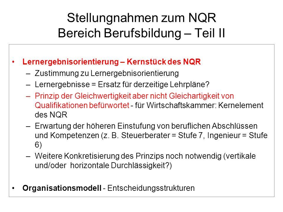 Stellungnahmen zum NQR Bereich Berufsbildung – Teil II