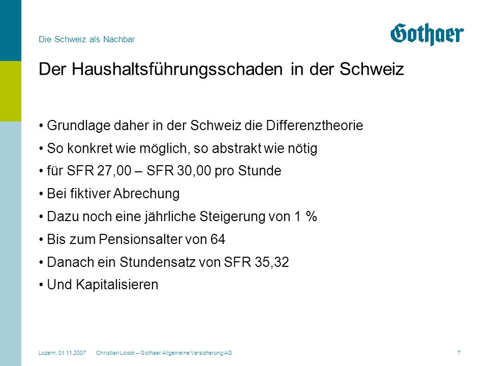 Der Haushaltsführungsschaden in der Schweiz