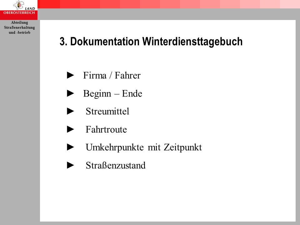 3. Dokumentation Winterdiensttagebuch