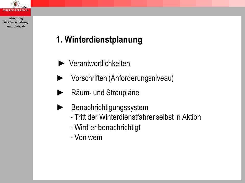 1. Winterdienstplanung ► Verantwortlichkeiten