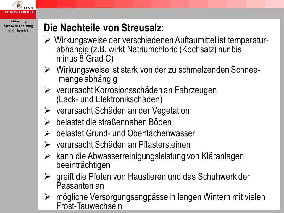 Die Nachteile von Streusalz: